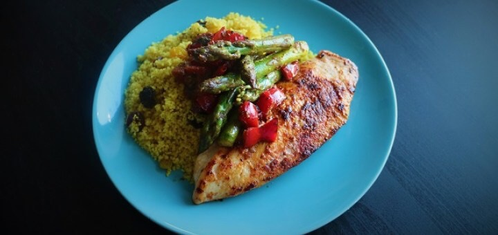 Smoky Chicken Fillet with Pan Roasted Peppers, Asparagus & Couscous